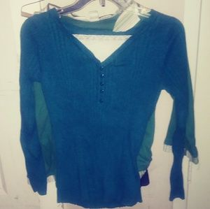 Reference Point-womens long sleeve top-med-green